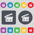 Cinema movie icon sign A set of 12 colored buttons vector image