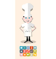 Cook - Chef with Menu and Restaurant - Food Icons vector image