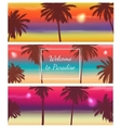 Travel Banner with Palm Trees Exotic landscape vector image