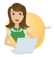 Working Woman with laptop office notebook computer vector image