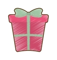 drawing pink big gift box with bow vector image