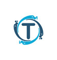 water clean service abbreviation letter t vector image