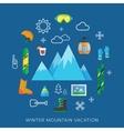 Winter vacation flat icon set vector image