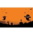 Halloween Ghost in tomb orange backgrounds vector image