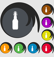 bottle icon sign Symbol on eight colored buttons vector image