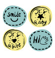 four children s logo with handwriting smile it s vector image