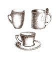 Set of cups with hand-drawing style vector image