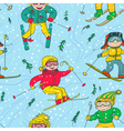 skiers seamless pattern vector image