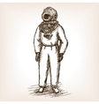 Vintage diver man with diving dress sketch vector image