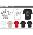 t shirt design with happy cat vector image