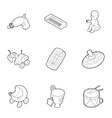 Kind of toys icons set outline style vector image