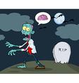 Blue Cartoon Zombie Walking With Hands In Night vector image vector image