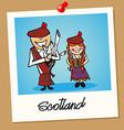 Scotland travel polaroid people vector image vector image