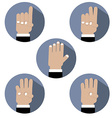 Flat Design Hand Make Number Icons vector image