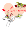 inscription love with heart vector image vector image