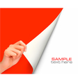 hand with red background vector image