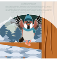 Happy Sparrow with Hat on the Tree flat background vector image