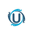 water clean service abbreviation letter u vector image