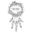 Boho indian decorative wreath sketch vector image vector image