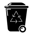 Trash wheelie bin icon simple style vector image