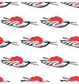 Red grilled prawn on a plate with chopsticks vector image vector image