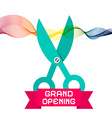Grand Opening with Scissors and Colorful Wave vector image vector image