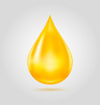 golden oil drop isolated on light grey background vector image