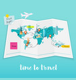 time to travel map and tourist equipment plan to vector image