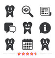 tooth happy sad and crying face icons vector image
