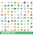 100 winter icons set isometric 3d style vector image