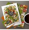 Cartoon hand-drawn doodles italian food corporate vector image