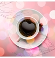 White coffee cup with heart shape made of foam on vector image vector image