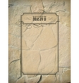Vintage menu frame stone wall vector image