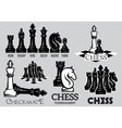 Set emblems and signs for the chess tournament vector image
