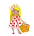 little girl with bag vector image vector image