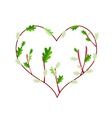 Fresh Green Leaves in A Heart Frame vector image