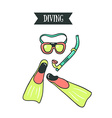 Colorful of diving mask snorkel and pair of vector image