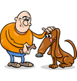 man and dog cartoon vector image