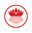 Red logo reflective crown in circle on white vector image