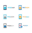 set of phone logo combination mobile and gadget vector image