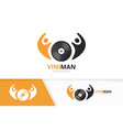 vinyl and people logo combination record vector image