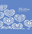 white lacy hearts wedding background vector image
