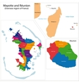 Reunion and Mayotte map vector image