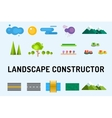 Abstract landscape constructor icons set vector image