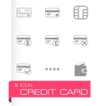 black credit card eyes icons set vector image