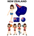 New Zealand flag and woman athlete vector image