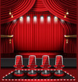 red stage curtain with spotlights and four chairs vector image