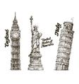 Travel Hand drawn sketch England USA Italy vector image