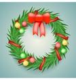 Wreath Balls Ribbons Christmas Decoration vector image