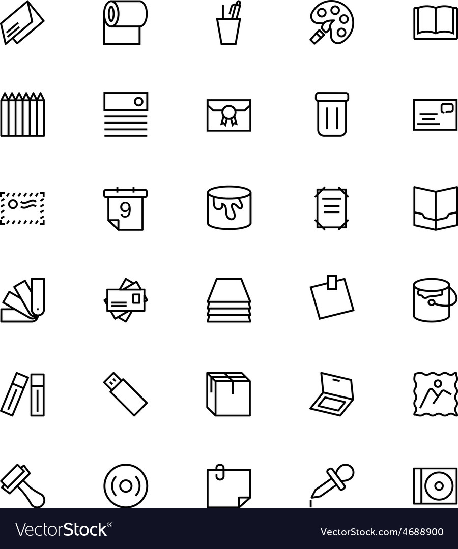 Stationery line icons 4 vector